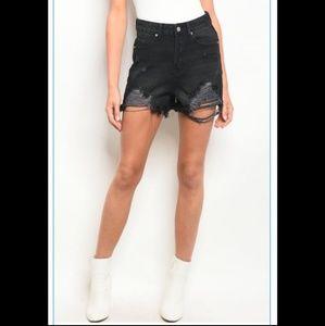 Pants - Black Distressed Shorts